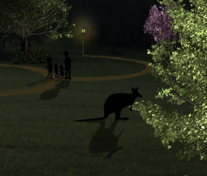 Kangaroo in the moonlight