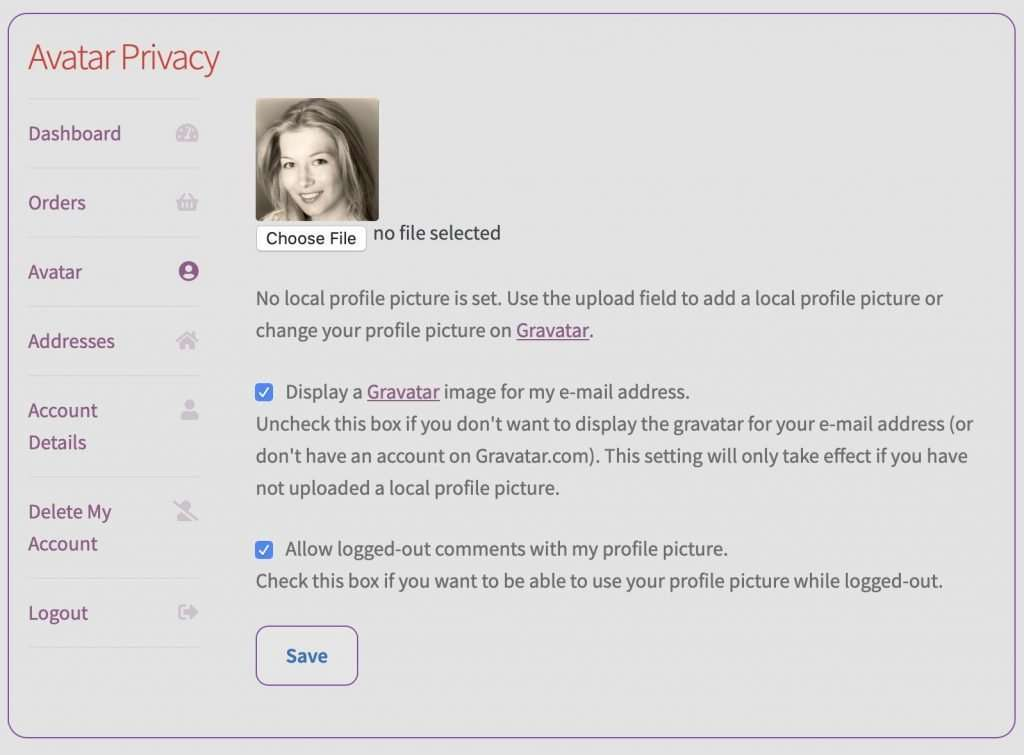 GDPR WooCommerce My Account Avatar Privacy